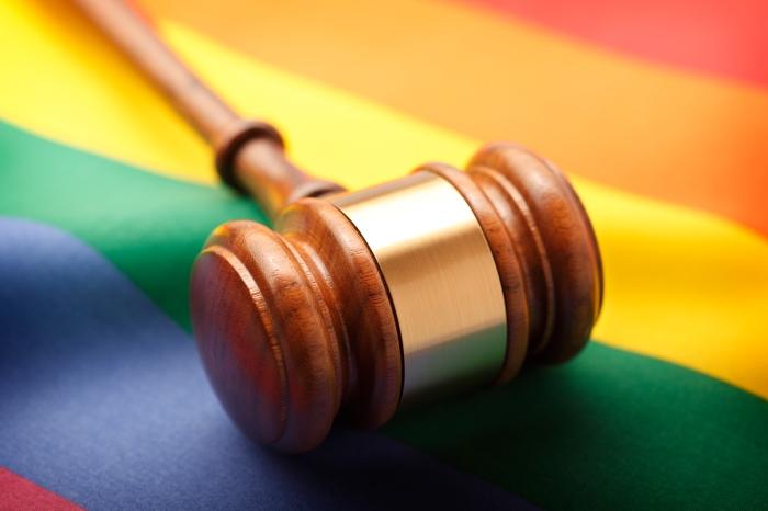 Gavel On Rainbow Flag