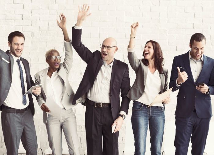 Business People Celebration Arms Raised Ecstatic Concept