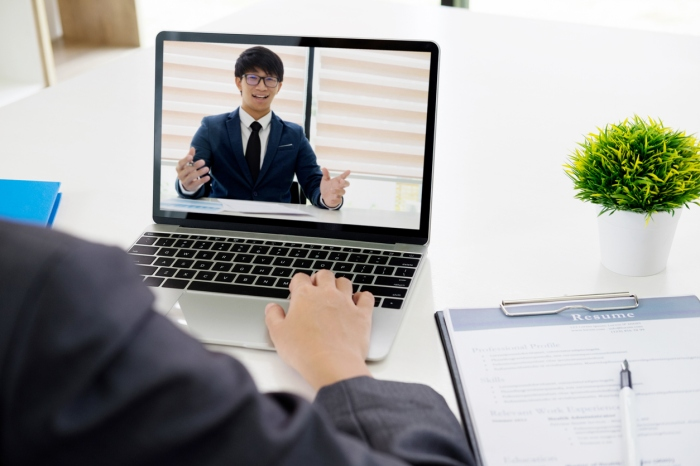 Online job interview. Online conference. Business online.